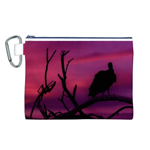 Vultures At Top Of Tree Silhouette Illustration Canvas Cosmetic Bag (L)