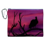 Vultures At Top Of Tree Silhouette Illustration Canvas Cosmetic Bag (XXL) Front