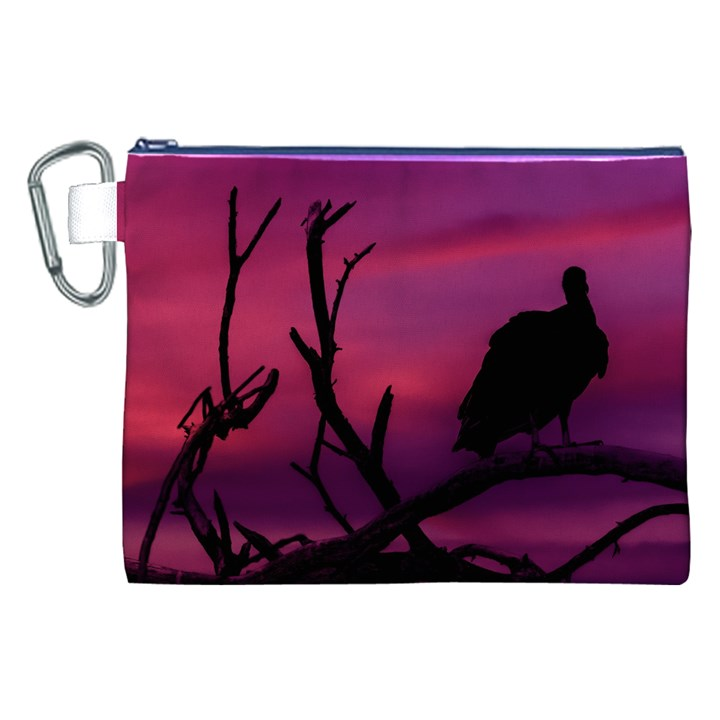 Vultures At Top Of Tree Silhouette Illustration Canvas Cosmetic Bag (XXL)