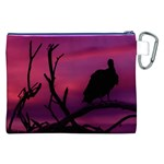Vultures At Top Of Tree Silhouette Illustration Canvas Cosmetic Bag (XXL) Back