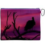 Vultures At Top Of Tree Silhouette Illustration Canvas Cosmetic Bag (XXXL) Back
