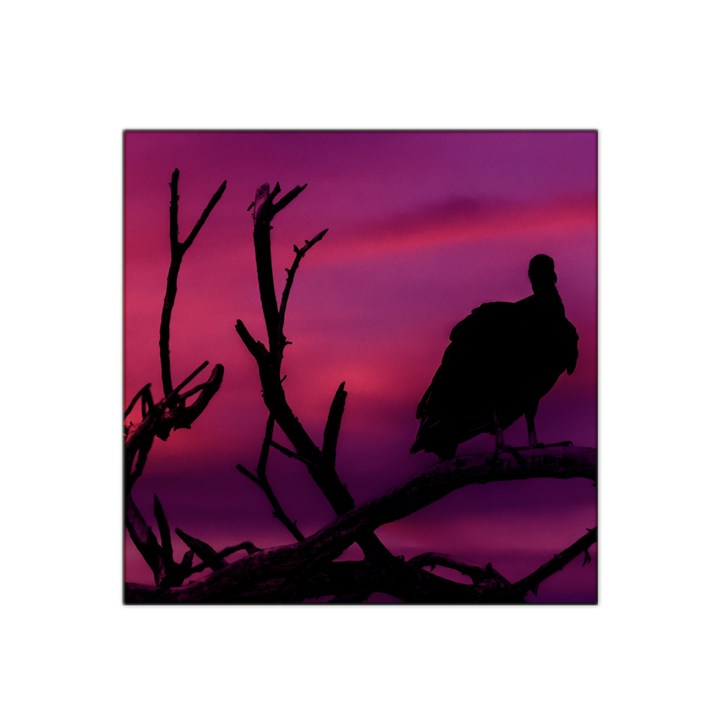Vultures At Top Of Tree Silhouette Illustration Satin Bandana Scarf