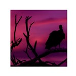 Vultures At Top Of Tree Silhouette Illustration Small Satin Scarf (Square)  Front