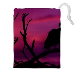 Vultures At Top Of Tree Silhouette Illustration Drawstring Pouches (xxl)