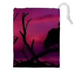 Vultures At Top Of Tree Silhouette Illustration Drawstring Pouches (XXL) Front