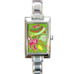 Green Organic Abstract Rectangle Italian Charm Watch