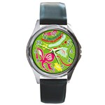 Green Organic Abstract Round Metal Watch Front