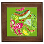 Green Organic Abstract Framed Tiles Front