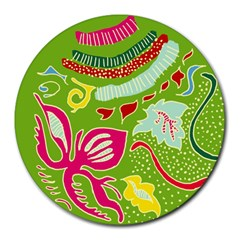 Green Organic Abstract Round Mousepads
