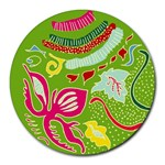 Green Organic Abstract Round Mousepads Front