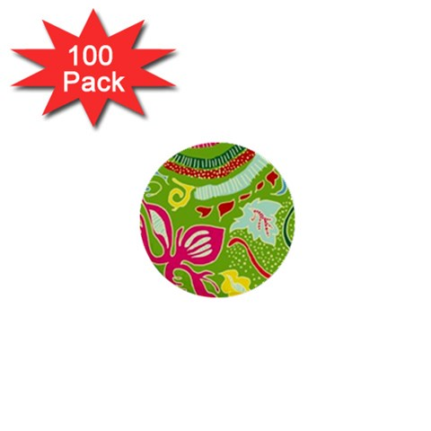 Green Organic Abstract 1  Mini Buttons (100 pack)