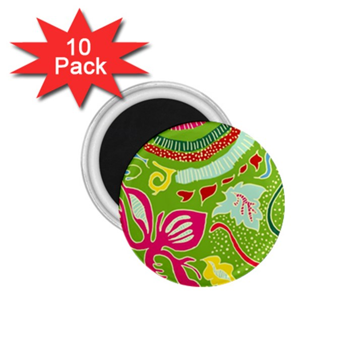 Green Organic Abstract 1.75  Magnets (10 pack)