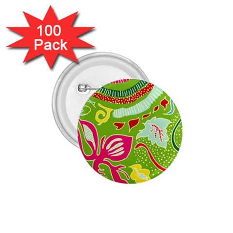 Green Organic Abstract 1.75  Buttons (100 pack)