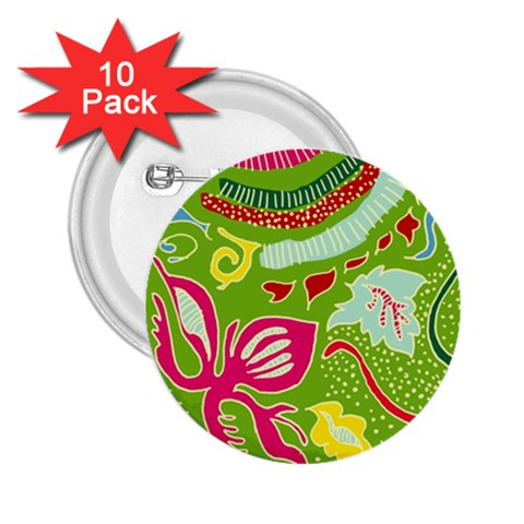 Green Organic Abstract 2.25  Buttons (10 pack)