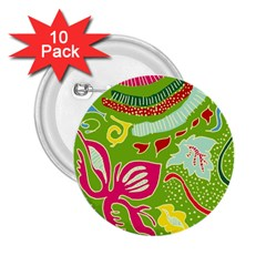 Green Organic Abstract 2 25  Buttons (10 Pack)