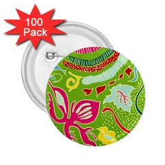 Green Organic Abstract 2 25  Buttons (100 Pack)