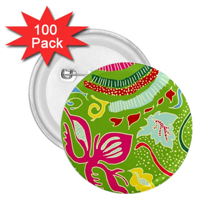 Green Organic Abstract 2.25  Buttons (100 pack)