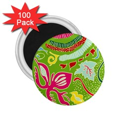 Green Organic Abstract 2 25  Magnets (100 Pack)