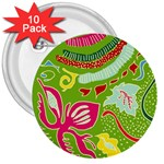 Green Organic Abstract 3  Buttons (10 pack)  Front