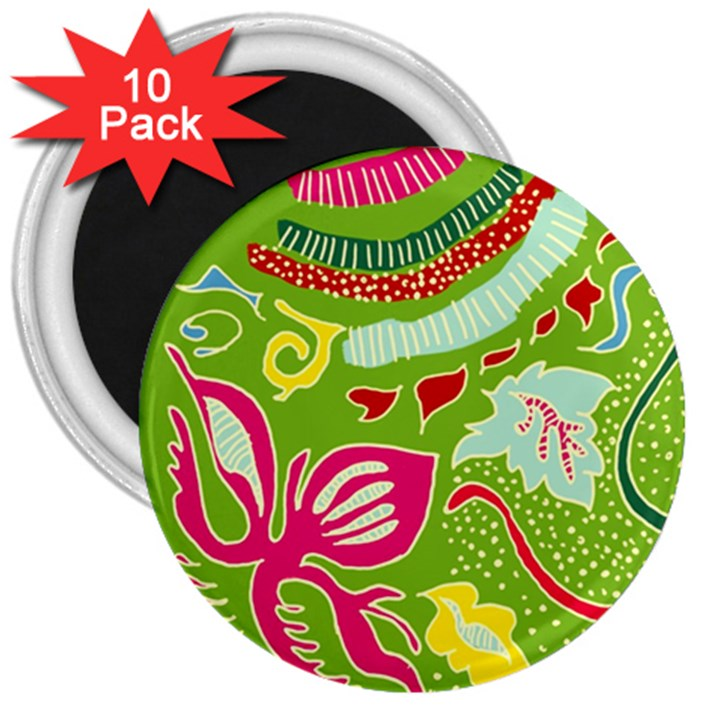 Green Organic Abstract 3  Magnets (10 pack)