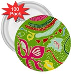 Green Organic Abstract 3  Buttons (100 pack)  Front