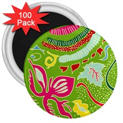 Green Organic Abstract 3  Magnets (100 Pack)