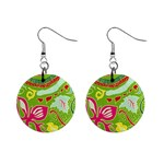 Green Organic Abstract Mini Button Earrings Front