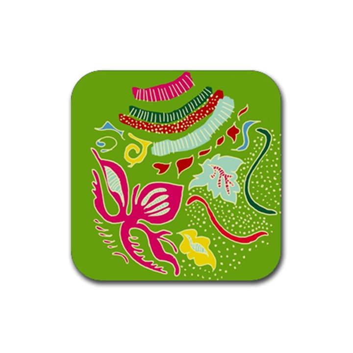 Green Organic Abstract Rubber Square Coaster (4 pack)