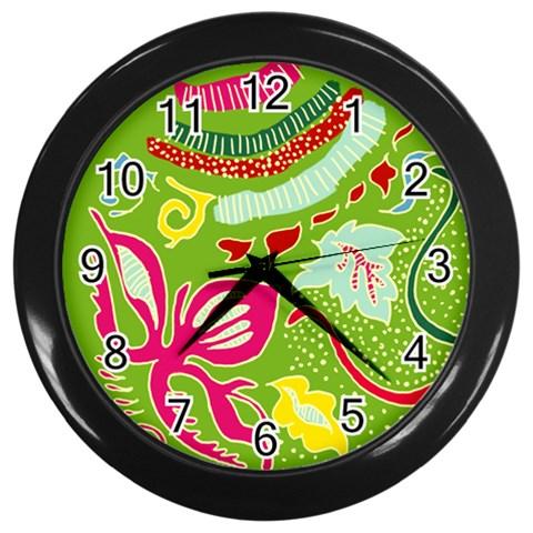 Green Organic Abstract Wall Clocks (Black)