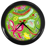 Green Organic Abstract Wall Clocks (Black) Front