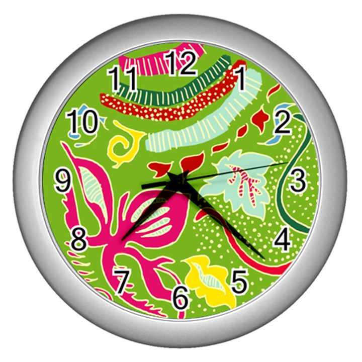 Green Organic Abstract Wall Clocks (Silver)