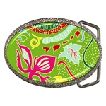 Green Organic Abstract Belt Buckles Front