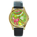 Green Organic Abstract Round Gold Metal Watch Front