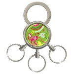 Green Organic Abstract 3-Ring Key Chains Front