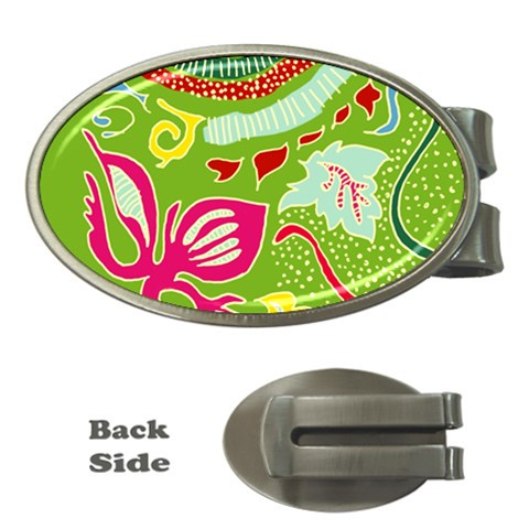 Green Organic Abstract Money Clips (Oval)