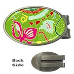 Green Organic Abstract Money Clips (Oval)  Front