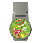 Green Organic Abstract Money Clips (Round)  Front
