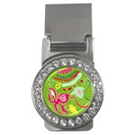 Green Organic Abstract Money Clips (CZ)  Front