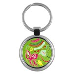 Green Organic Abstract Key Chains (Round)  Front