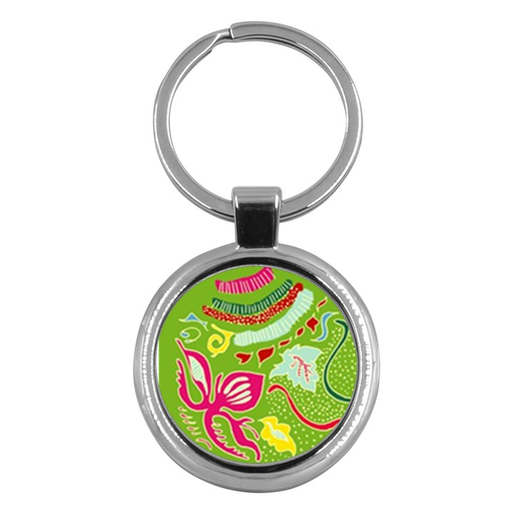 Green Organic Abstract Key Chains (Round)