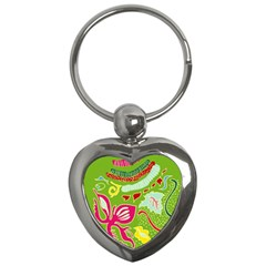 Green Organic Abstract Key Chains (heart)