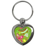 Green Organic Abstract Key Chains (Heart)  Front