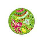 Green Organic Abstract Magnet 3  (Round) Front