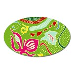 Green Organic Abstract Oval Magnet Front