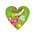 Green Organic Abstract Heart Magnet Front