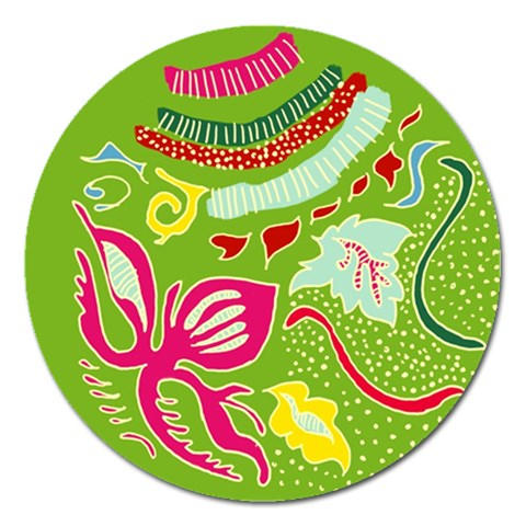 Green Organic Abstract Magnet 5  (Round)