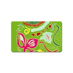 Green Organic Abstract Magnet (Name Card) Front