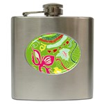 Green Organic Abstract Hip Flask (6 oz) Front