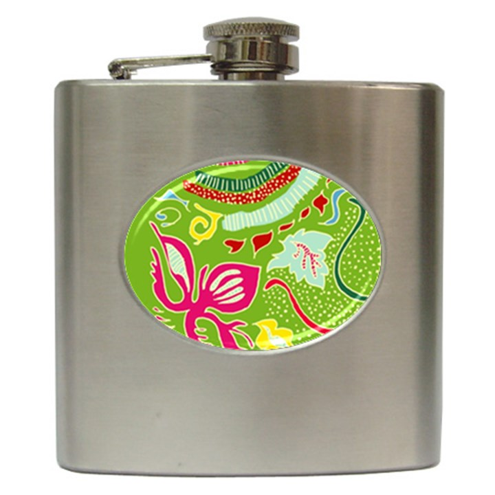 Green Organic Abstract Hip Flask (6 oz)