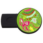 Green Organic Abstract USB Flash Drive Round (1 GB)  Front